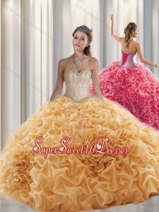 2016 Luxurious Ball Gown Sweetheart Beading Quinceanera Dresses with Brush Train