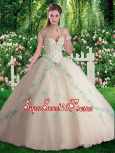 Elegant Sleeveless Beading and Appliques Sweet 16 Dresses in Champange