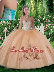 Pretty Ball Gown Beading and Appliques Champagne Quinceanera Dresses