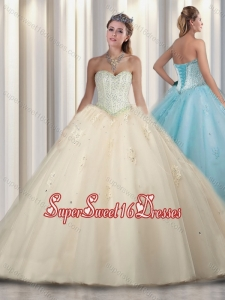 Simple Champagne Princess Beading and Sweet 16 Gowns Dresses