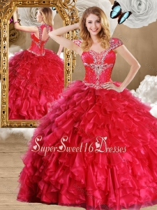 2016 Fashionable Red 15th Birthday Party Dresses Gowns with Beading and Ruffles