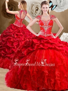 2016 Fashionable Red 15th Birthday Party Dresses with Beading and Pick Ups