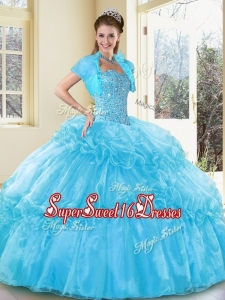 2016 New Style Ball Gown Aqua Blue Simple Sweet Sixteen Dresses with Beading and Ruffled Layers