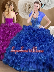 2016 Pretty Royal Blue 5th Birthday Party Dresses with Beading and Ruffles