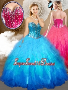 2016 Simple Ball Gown S15th Birthday Party Dresses with Beading and Ruffles