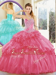 2016 Simple Sweet Sixteen Dresses with Beading and Ruffled Layers for Spring