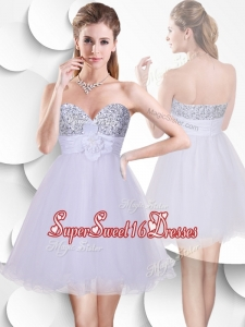2016 Beautiful Short Quinceanera Dama Dresses with Sequins and Hand Made Flowers