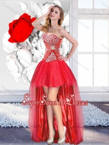 Classical Red High Low Quinceanera Dama Dresses with A Line