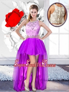 Pretty High Low Scoop Quinceanera Dama Dresses with Beading