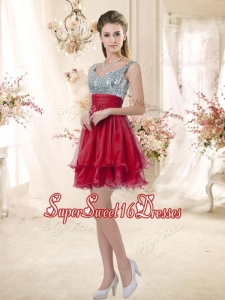 Wonderful Straps Sequins and Ruching Quinceanera Dama Dresses in Wine Red