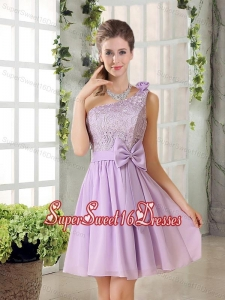 One Shoulder Lilac Dama Dress with Bowknot for 2015