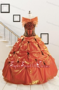 Orange Red and Black Sweetheart Appliques Quinceanera Dresses with Wraps