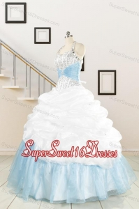 2015 Pretty Halter White and Blue Quinceanera Dress with Beading