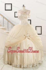 Elegant Appliques 2015 Champagne Quinceanera Dress with Wraps