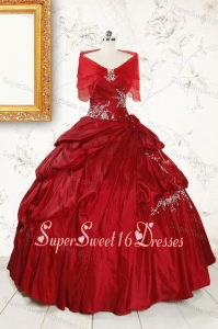 Ball Gown Sweetheart Appliques 2015 Quinceanera Dress in Wine Red