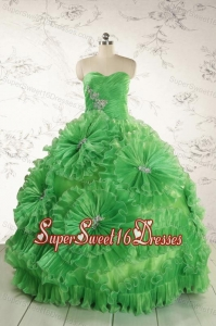 Classical Green Quinceanera Dresses with Appliques and Ruffles for 2015