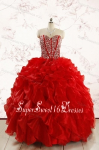 Red Beading and Ruffles Sweetheart Pretty Quinceanera Dresses for