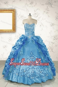 Elegant Sweetheart Embroidery Sweet 16 Dress in Blue