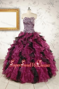 2015 New Style Sweetheart Ruffles Multi-color Quinceanera Dresses