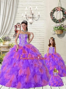 Beautiful Ruffles and Beading Princesita Dress in Purple and Red for 2015