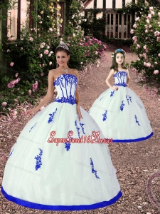 New Style Appliques Princesita Dress in White and Royal Blue for 2015