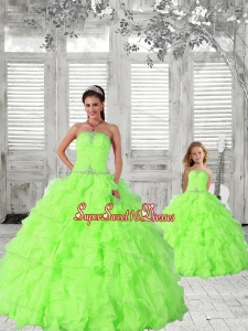 2015 Modest Spring Green Princesita Dress with Beading and Ruching