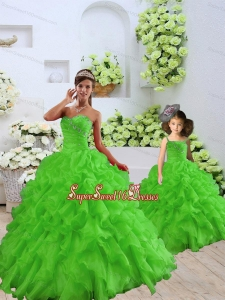 New Style Beading and Ruffles Princesita Dress in Spring Green for 2015