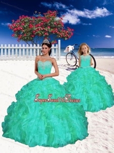 Modest Turquoise Princesita Dress with Appliques and Beading for 2015