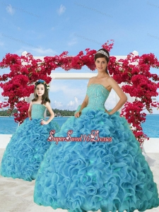 Trendy Beading and Ruffles Princesita Dress in Aqua Blue for 2015