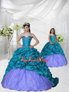 New Style Appliques Brush Train Blue and Purple Princesita Dress