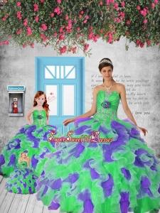 Remarkable Multi-color Princesita Dress with Appliques and Ruffles