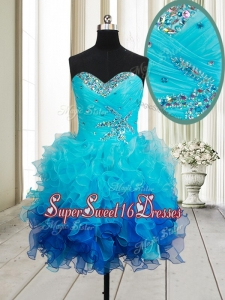 Best Beaded and Ruffled Organza Short Dama Dress in Gradient Color