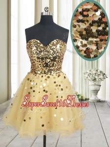 Best Selling Sequined Bodice Zipper Up Organza Dama Dress in Champagne