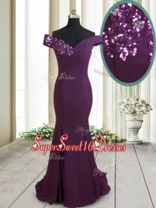 Classical Mermaid Off the Shoulder Brush Train Sequined Dama Dress in Dark Purple