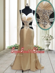 Gorgeous Cut Out Waist Mermaid Straps Criss Cross Dama Dress in Elastic Woven Satin