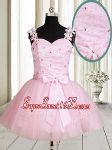New Applique Decorated Straps Baby Pink Short Dama Dress with Beading and Bowknot