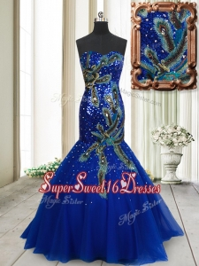 Perfect Mermaid Brush Train Tulle Dama Dress with Sequins and Peacock Appliques