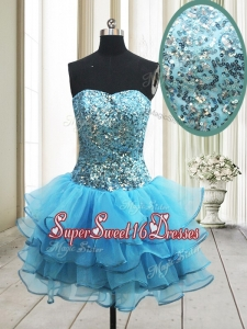 Popular Zipper Up Baby Blue Short Dama Dress with Sequins and Ruffled Layers