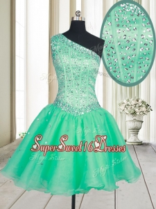 Visible Boning One Shoulder Beaded Bodice Organza Dama Dress in Turquoise