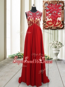 New Arrivals Applique Scoop Brush Train Red Dama Dress with Open Back