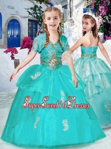 Fashionable Halter Top Turquoise Little Girl Pageant Dresses with Appliques