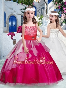 Pretty Spaghetti Straps Little Girl Pageant Dresses with Beading and Ruffles