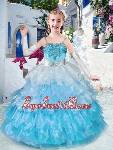 Customized Straps Little Girl Pageant Dresses with Ruffled Layers and Appliques