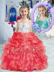 Perfect Spaghetti Straps Little Girl Pageant Dresses with Beading and Ruffles