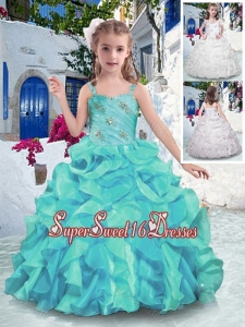 Customized Straps Ball Gown Little Girl Pageant Dresses with Ruffles
