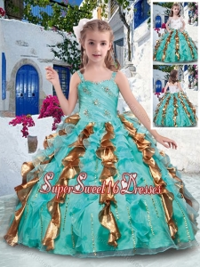 Top Selling Straps Little Girl Pageant Dresses with Beading and Ruffles