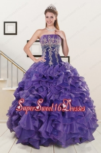 2015 Perfect Purple Sweet 15 Dresses with Appliques and Ruffles