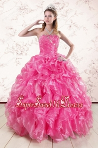 2015 Pretty Ball Gown Quinceanera Dresses with Beading and Ruffles