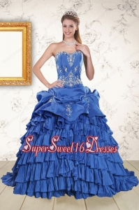 Modern Royal Blue Appliques and Pick Ups Quinceanera Dresses with Brush Train