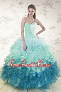 2015 Prefect Multi Color Quinceanera Dresses with Beading and Ruffles